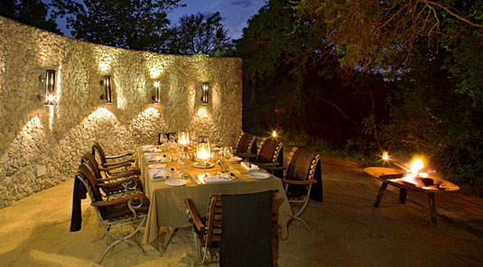 African Boma Dining at Leadwood Lodge in the Big 5 Sabi Sand Private Game Reserve - Book your holiday Accommodation at Leadwood Lodge, South Africa