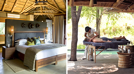 Private Suite Bedroom and private spa massage at Leadwood Lodge, Sabi Sand Private Game Reserve