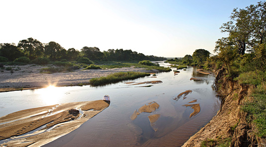 River view in the Big 5 Sabi Sand Private Game Reserve located in South Africa