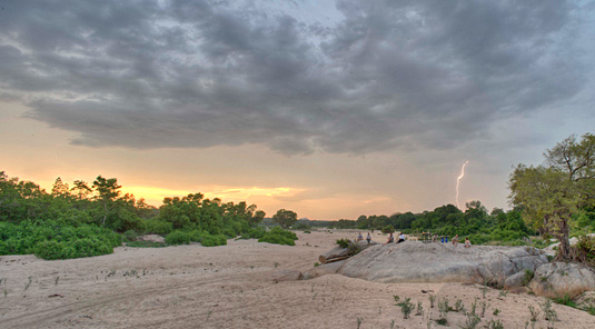 Sunset with approching storm in the Big 5 Sabi Sand Private Game Reserve located in South Africa