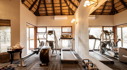 Small gym at Dulini Safari Lodge. Dulini is located in the Big 5 Sabi Sand Game Reserve in South Africa