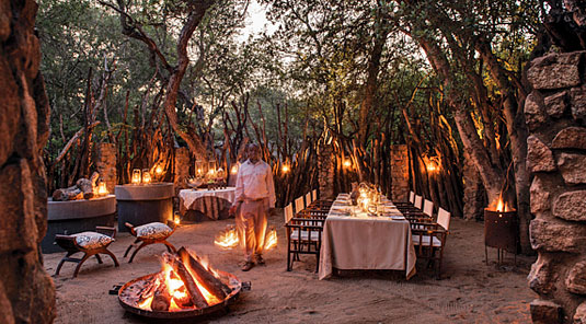 African Boma dining at Dulini Safari Lodge Dulini is located in the Big 5 Sabi Sand Game Reserve in South Africa