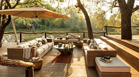Dulini main deck with Lounge. Dulini Safari Lodge is located in the Sabi Sand Game Reserve