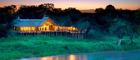 View of Main Lodge overlooking the Sabie River at Lion Sands Narina Lodge located in the big five Sabi Sand Private Game Reserve, South Africa