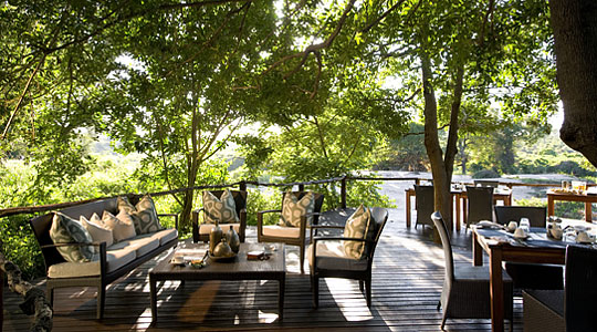 Main lodge deck area at Lion Sands River Lodge in the big five Sabi Sand Private Game Reserve, South Africa