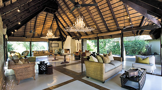 Main Lodge lounge area at Lion Sands River Lodge located in the Sabi Sand Private Game Reserve, South Africa
