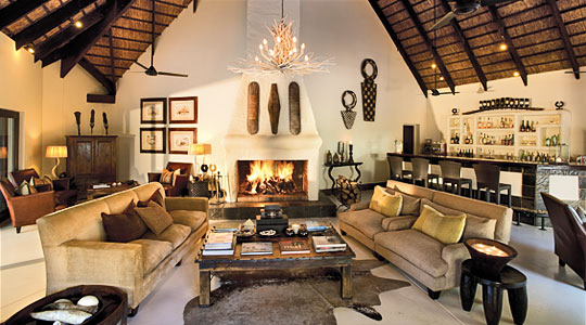 Main Lodge Bar and Lounge area at Lion Sands River Lodge located in the Sabi Sand Private Game Reserve, South Africa