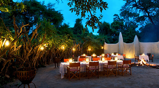 African Boma Dining at Lion Sands River Lodge located in the Big Five Sabi Sand Private Game Reserve, South Africa