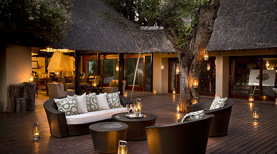 Deck outdoor Lounge at Lion Sands River Lodge located in the Sabi Sand Private Game Reserve, South Africa
