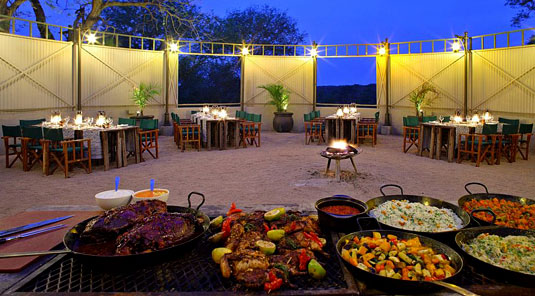 African Boma Dining Kirkmans Kamp Exeter Private Game Reserve Sabi Sand Game Reserve Game Lodge Bookings