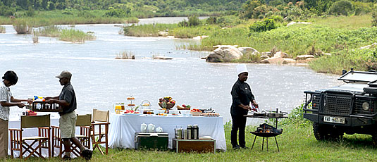 Bush Breakfast Sabie River Lion Sands Tinga Lodge Sabi Sand Private Game Reserve Accommodation Booking