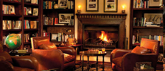 Main Lodge Library Fire Place Lion Sands Tinga Lodge Sabi Sand Private Game Reserve Accommodation Booking