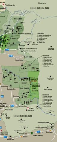Sabi Sands Lodges Accommodation Map